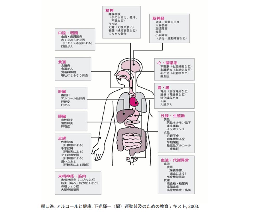 「アルコール感受性遺伝子検査キット」飲酒による健康リスクの一覧