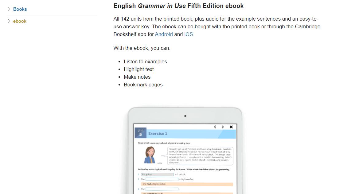 Grammar In Useのebookサンプルページ